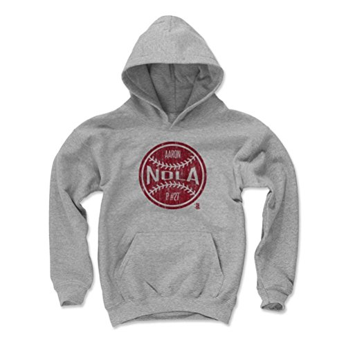 500 LEVEL's Aaron Nola Kids Youth Hoodie L Gray - Aaron Nola Ball R - Philadelphia Baseball Fan Gear Officially Licensed by the MLB Players Association