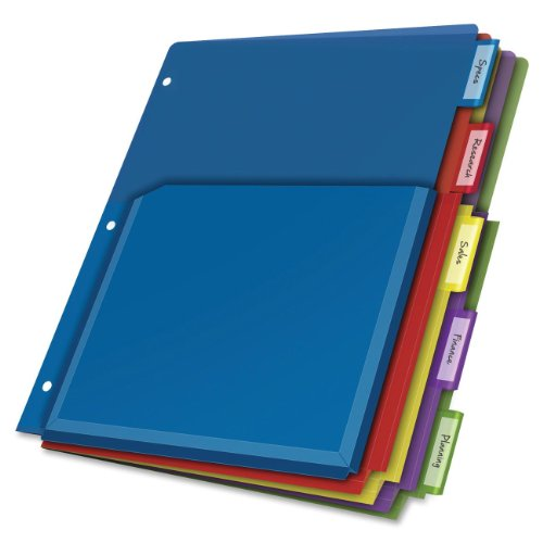 Cardinal Expanding Pocket Poly Divider 5-Tab Multi-Color (84012CB)