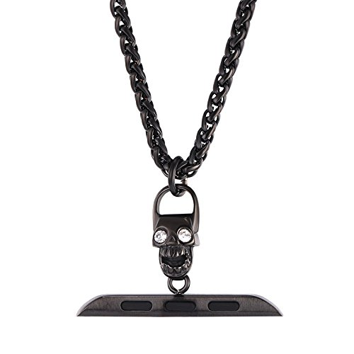 Bandmax Necklace Compatible Apple Watch 38MM 40MM,Black Gun Plated Chain Necklace Strap Compatible iwatch Series4/3/2/1 Mix Punk Style Skull Design ()