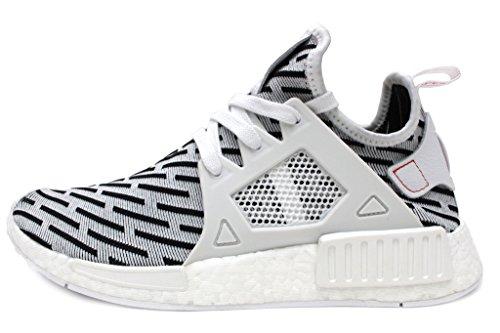 NMD XR1 Primeknit Mens in White/Red by Adidas, 11.5