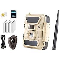 ICUserver 3G - Überwachungskamera mit SIM-Karte - weitwinkel Wildkamera - europaweiter Empfang - inkl. 8 GB SD-Karte & 12 Batterien - 100°-Linse - beige