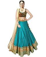Megha Designer Sky Blue Silk Women's Gown (Nx_Sea_Free Size)