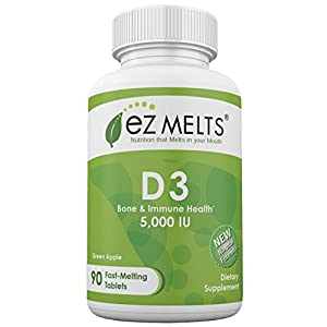 EZ Melts D3 as Cholecalciferol, 5,000 IU, Sublingual Vitamins, Vegetarian, Zero Sugar, Natural Apple Flavor, 90 Fast Dissolve Tablets