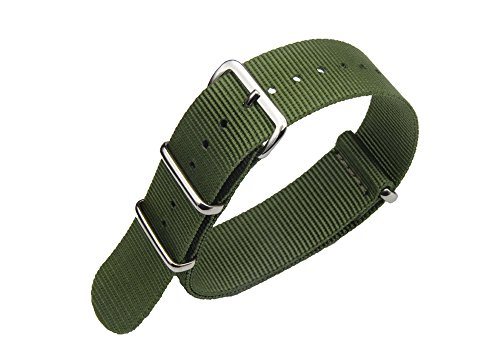 - 18mm Nylon Army Watch Bands Brushed Rings Fabric Military Diver Watch Strap - Army Green