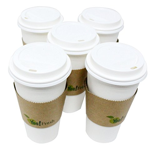 Eco-friendly White Paper Hot Coffee Cup with Tan Cup Sleeves and White Cappuccino Lids, 20 Oz, 50 Set.