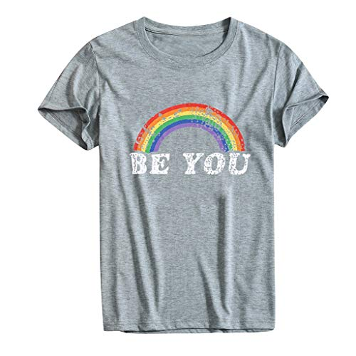 Goddesslili LGBTQ Rainbow T Shirts for Women, Casual Short Sleeve Letter Round Neck Printed Blouse Tops for Girls College Student, Back to School Essentials, Muti Colors