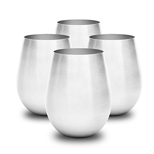 Stainless Steel Wine Glass Set is Stylish & Sturdy, Unbreakable Wine Glass Won't Fog or Scratch. Stemless Wine Tumblers Make Great Travel Or Camping Wine Glasses. Perfect Gift, Easy To Clean Wine Cups