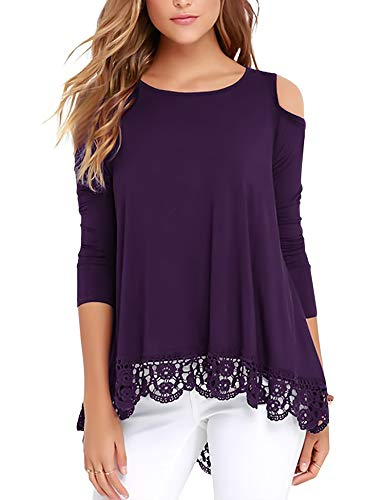 RAGEMALL Womens Cold Shoulder Tops Long Sleeve Lace Trim Tunic Blouse Tops for Women Purple L