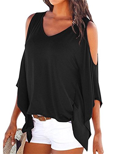 MISELON Womens Cold Shoulder Batwing Sleeve Top Summer Loose Blouse T Shirts (Black, XL)