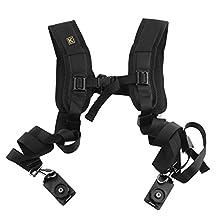 Quick Release Double Camera Shoulder Strap Harness Soft Padded Decompression Foam Shoulder Strap Belts for Digital Canon Nikon Camera,Ergonomic Design Curved Nylon