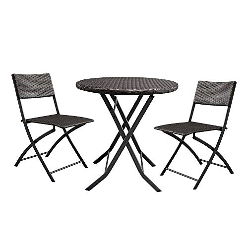 Lovinland Patio Furniture 3 Piece Rattan Outdoor Furniture Folding Table and Chair Conversation Set for Pool Garden Lawn Backyard Balcony(Brown Gradient)