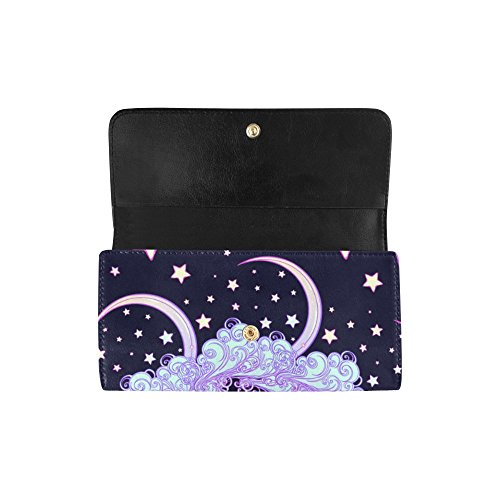 Great a Diamond Crea With Ice Custom Silly Wallet Wallets Long Clutch Gift Moon Beautiful Women's Face Human Crescent Women's Trifold With Unicorns Meow gwqgRSZI
