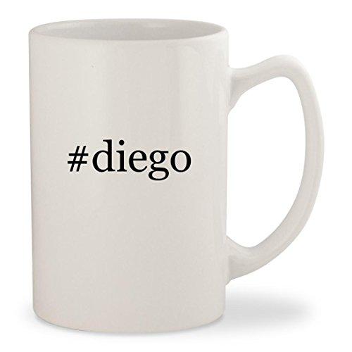 #diego - White Hashtag 14oz Ceramic Statesman Coffee Mug Cup