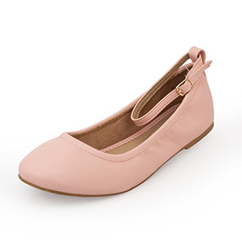 DREAM PAIRS Women's Sole-Fina-Straps Pink Ankle Straps Ballet Flats Shoes - 6.5 B(M) US - Pink Ballet Flats