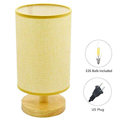Modern Design Nightstand Lamp (LED Bulb Included) with Linen Fabric Shade Solid Wood Bedside Table Lamp (Warm White) for Bedroom, Living Room,Coffee Table, Office, Kids (Round) ()