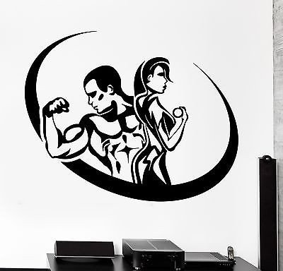 Wall Sticker Sport Fitness Bodybuilding Man And Woman Gym Vinyl Decal (z3067)