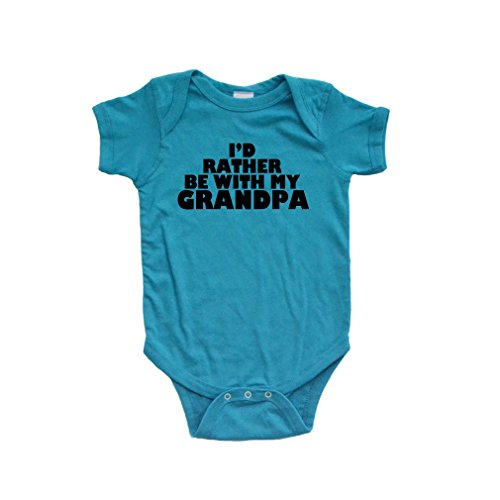Apericots Adorable Id Rather Be With My Grandpa Soft Cotton Cute Baby Bodysuit