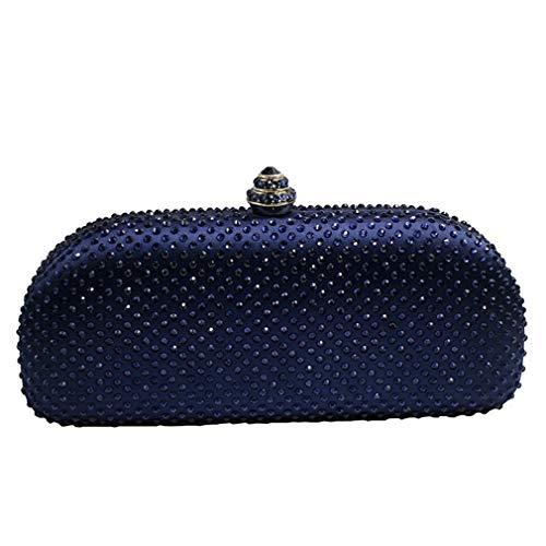 Bag Navy ULKpiaoliang Crystal Box Bags Clutch Rhinestone Purses Champange Evening Blue wXdqrad