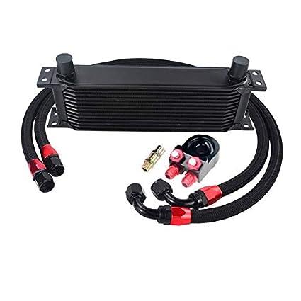 Nylon Stainless Steel Braided Hose Black MeterMall 13 Row Oil Cooler KIT 6746 Oil Filter Sandwich Adapter