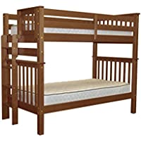 Bedz King Tall Bunk Beds Twin over Twin Mission Style with End Ladder, Espresso