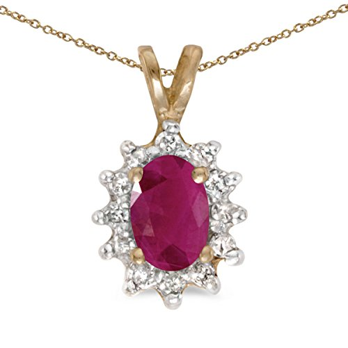 10k Yellow Gold Oval Ruby And Diamond Pendant (Gold Ruby Necklace Oval)