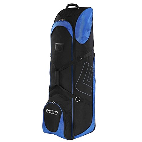 Deluxe Wheeled Golf Bag - Forgan of St Andrews Deluxe Large Golf Travel Bag/Flight Cover with Wheels Black/Blue