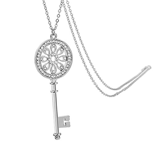 Crystal Key Necklace (Chaomingzhen Silver-tone Crystal Flower Key Pendant Long Necklace for Women Fashion Jewelry)