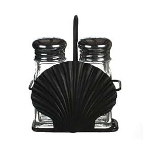 "Seashell Iron Holder w/ Glass Salt and Pepper Shakers, 4"" X 5.5"" X 2"""