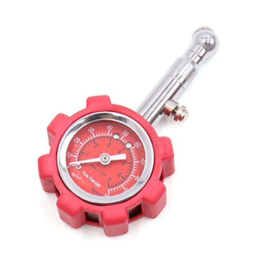 uxcell Red Portable Tyre Tire Air Pressure Gauge 0-100PSI Tester Meter for Car Vehicle