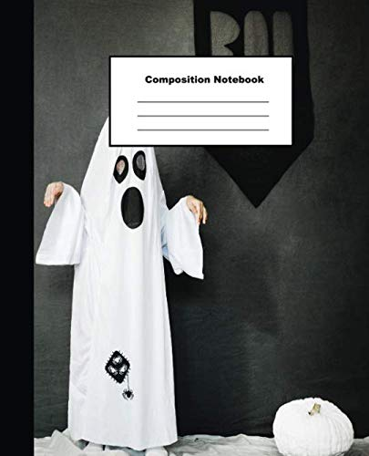 Composition Notebook: Cute Little Ghost and Pumpkin Wide