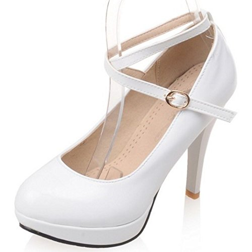 COOLCEPT Women Stiletto Mary Janes Pumps Patent Solid Platform Wedding Party High Heel Shoes White XcivTQ