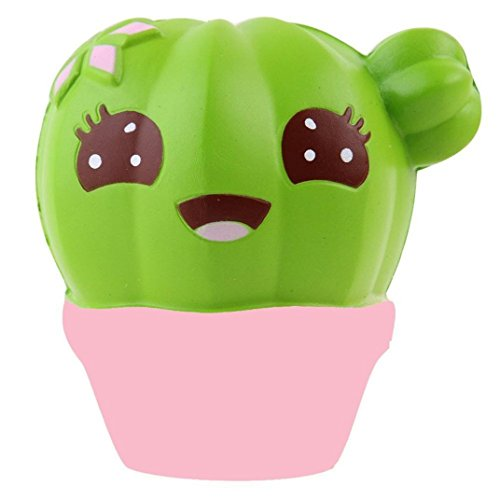 Hmlai Cute Cactus Squishies Jumbo Slow Rising Squishy Scented Squeeze Sushi Stress Relief Toys Gift (Pink)