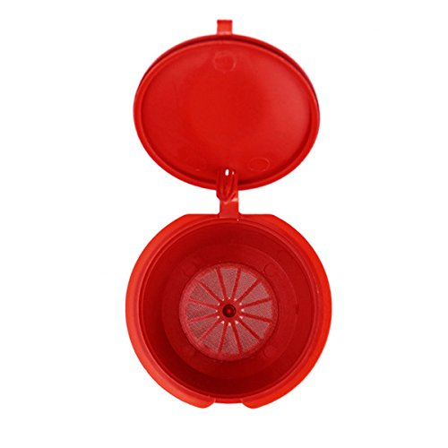 Coffee Filter - Refillable Coffee Filter Reusable Coffee Capsule Plastic Cover Stainless Steel Mesh Taste Sweet Coffeeware - Red - No Bunn K Mc Nr Xl Round Keruig Commercial Disposable Pod