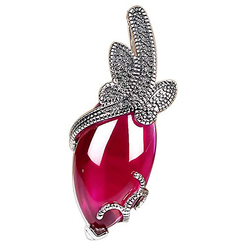 Nafeng Women's 925 Sterling Silver Necklace Baroque Style Fashion Necklace Synthetic Cubic Zirconia Ruby Pendant Gift Box,Pink