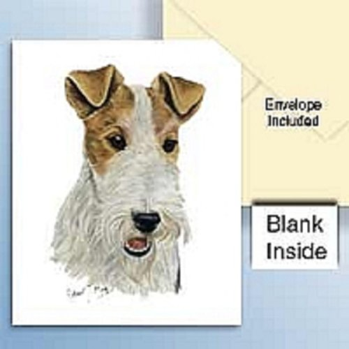 Wire Fox Terrier Red Greeting Cards Set of ()