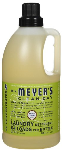 Mrs. Meyer's Clean Day 2x HE Liquid Laundry Detergent, Lemon Verbena, 64 Oz - Natural Laundry Soap