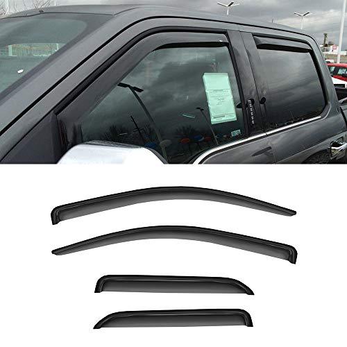 Vent Half (4PCS CDG Premium Sun Rain Guards Deflectors For 2015-2018 Chevy Silverado/GMC Sierra 1500 2500 HD/3500 HD Double Extended Cab With 2 Half Size Rear Doors Vent Shade Smoke Weather Shields Window Visors)