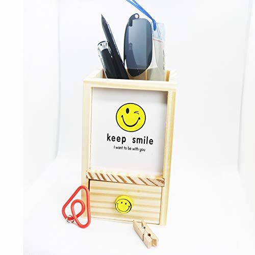 (Desk Organizer Pen Cup Pencil Holder with Mini Cute Drawer and Photo Frame)