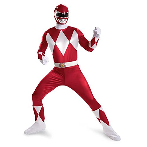 Disguise Sabans Mighty Morphin Power Rangers Red Ranger Super Deluxe Mens Adult Costume, Red/White, (Power Rangers Helmet)