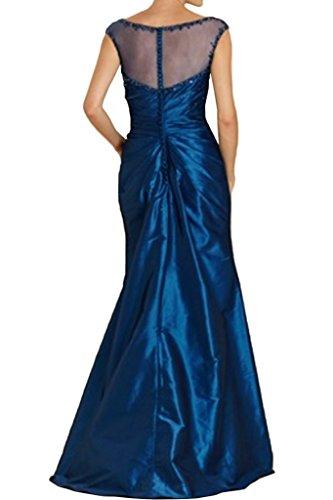 Charmant Damen Dunkel Blau Durchsichtig Hundkragen Abendkleider Ballkleider  Partykleider Lang A-linie