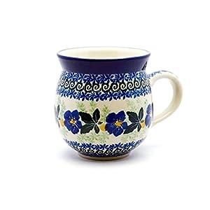 Polish Pottery Mug – 12 Oz. Bubble – Blue Pansy