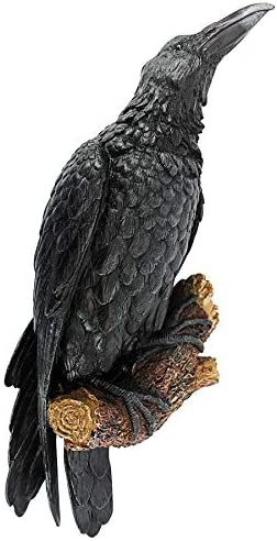 Design Toscano The Raven s Perch Halloween Gothic Decor Wall Sculpture, 18 Inch, Single