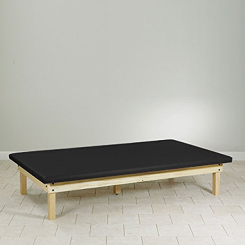 Upholstered top Mat Platform Treatment Table Wood frame 4 x 7 Black by CeilBlue