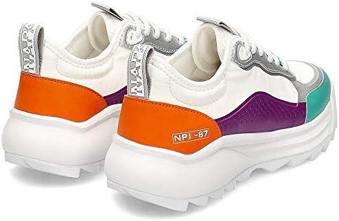 Napapijri Chaussures de sport pour femme Modèle Flint en cuir et tissu blanc avec inserts caoutchoutés multicolores Dessous en caoutchouc antidérapant.