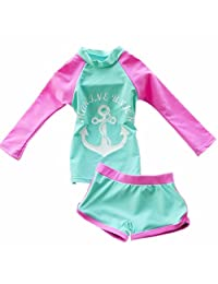 ZYZF Kid Girl Tankini Bikini Swimwear Long Sleeve Swimsuit Rash Guard UPF 50+ UV