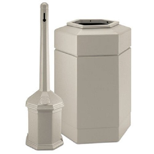 (Smokers' Outpost 30-Gal Site Saver Trash and Cigarette Receptacle Color: Beige )