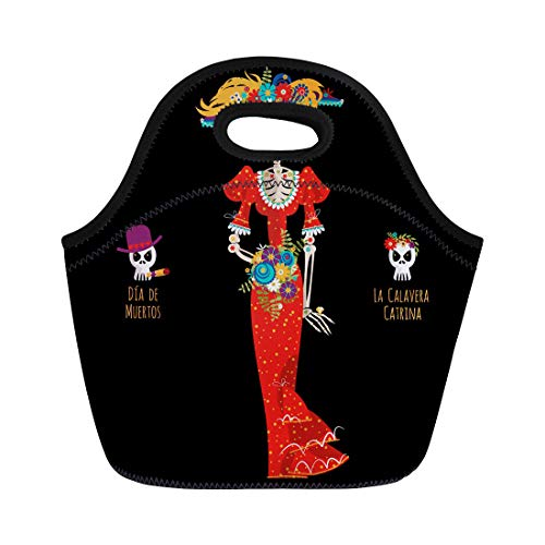 b83608f9fed0 Semtomn Lunch Bags Los La Calavera Catrina Elegant Skull Dia De Muertos  Neoprene Lunch Bag Lunchbox Tote Bag Portable Picnic Bag Cooler Bag
