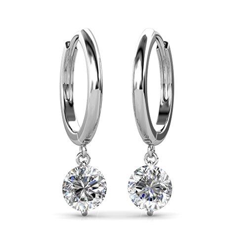 18k Gold Loop (BELLE & LILY Hoop Loop Earrings 18K White Glod with Swarovski Element Crystal Sparking Gift Valentine's Day Gift for Wife Girlfriend(E-Drop))