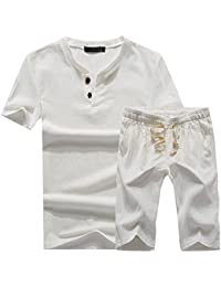 Plaid&Plain Men's Beachwear Set of Short Sleeve Linen T Shirt and Shorts