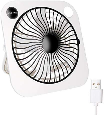 TriPole USB Desk Fan Small Portable Fan 2 Speed Strong Wind Personal Fan USB Powered Mini Fan 6 Inch Table Fan with 90°Rotatable Bracket for Home Office Bedroom, 4.9ft Cord, White